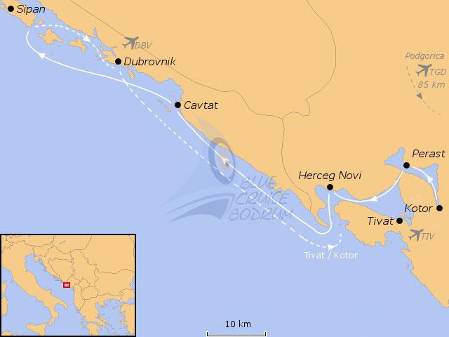 Kotor Montenegro Karte.Blue Cruise Croatia And Montenegro Cabin Charter Gulet