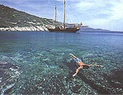 swimming in cristal clear waters