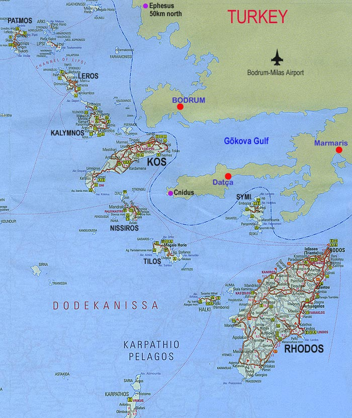 Dodecanese Greece map of the Greek islands when sailing to Kos or