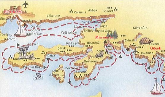 Bodrum Karte.Blue Cruise Tineraries From Bodrum Marmaris To Fethiye Göcek