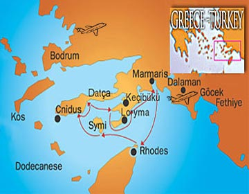 Blue cruise cabin charter Marmaris to Greece Dodecanese and Rhodes